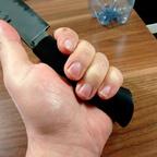 Jagdmesser aus Ebenholz und Dreilagenklinge